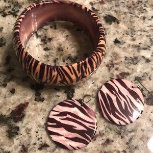 Jewelry - Zebra print cuff and earrings